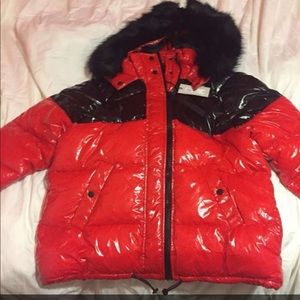 Jacket red and black shiny Size M